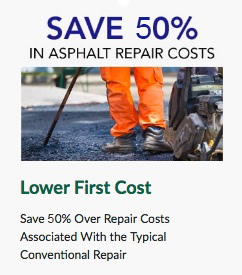 save 50 percent on asphalt repairs